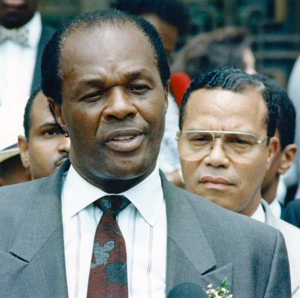District of Columbia Mayor Marion Barry talks to people outside the courtroom during the lunch break at his continuing trial on July 17, 1990. On January 18, 1990, authorities arrested Washington, D.C., Barry on narcotics charges after he was caught on camera smoking crack cocaine by a woman who agreed to record him in exchange for a reduced sentence on a previous charge. File Photo by Bruce Young/UPI