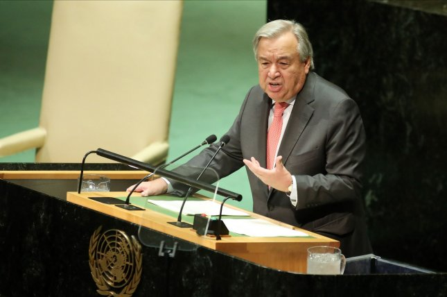 U.N. Secretary-General Antonio Guterres said the nations of the world must work together to take action on six important areas to mitigate the global financial impact of the COVID-19 pandemic. File Photo by Monika Graff/UPI