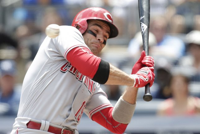 Cincinnati Reds first baseman Joey Votto, shown July 26, 2017, suffered the broken thumb during the team's 1-0 win over the Chicago White Sox on Wednesday after being hit by a pitch. File Photo by John Angelillo/UPI