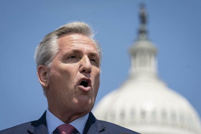 House Republican Leader Kevin McCarthy, R-Calif., condemned Tuesday comments days ago about the Holocaust and mask-wearing rules by Rep. Marjorie Taylor Greene, R-Ga. File Photo by Sarah Silbiger/UPI