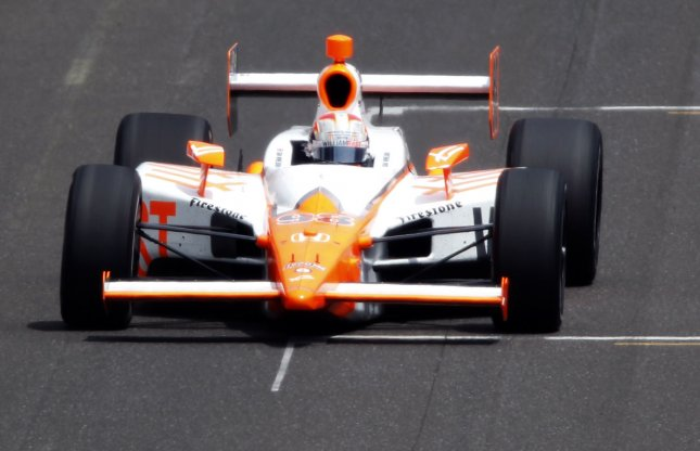 Dan Wheldon on the last lap in his May 29, 2011, Indianapolis 500 victory. UPI /Mark Cowan