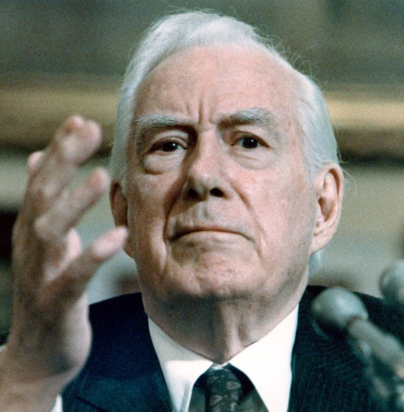 Retired former Chief Justice of the U.S. Supreme Court Warren Burger testifies before the House Committee on Post Office and Civil Service on February 2, 1987 in Washington on President Reagan's proposed pay raise to government employees. Burger said more judges have resigned since 1969, more than 50, than in the previous 180 years and cited repeated refusals of highly competent lawyers to serve on the federal bench, traditionally a singular honor. (UPI Photo/Leighton Mark/Files)