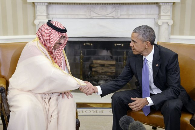 SIPRI reports Saudi Arabia was the world's second-largest arms importer in the period 2012 to 2016, with an increase of 212 percent compared with 2007-2011. Arms imports by Qatar rose by 245 percent. The United States was again the world's top arms exporter. Pictured, U.S. President Barack Obama holds a bilateral meeting with Crown Prince Mohammed bin Nayef of Saudi Arabia in the Oval Office of the White House, May 13, 2015 in Washington, D.C. Pool photo by Olivier Douliery/UPI