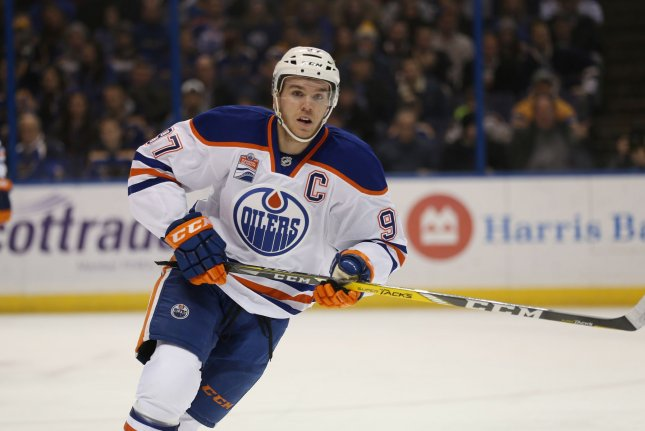 Connor McDavid and the Edmonton Oilers take on the Minnesota Wild on Friday. Photo by BIll Greenblatt/UPI