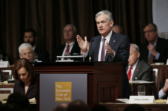 Federal Reserve Board Chair Jerome Powell speaks at the Economic Club of New York lunch on November 28. Photo by John Angelillo/UPI