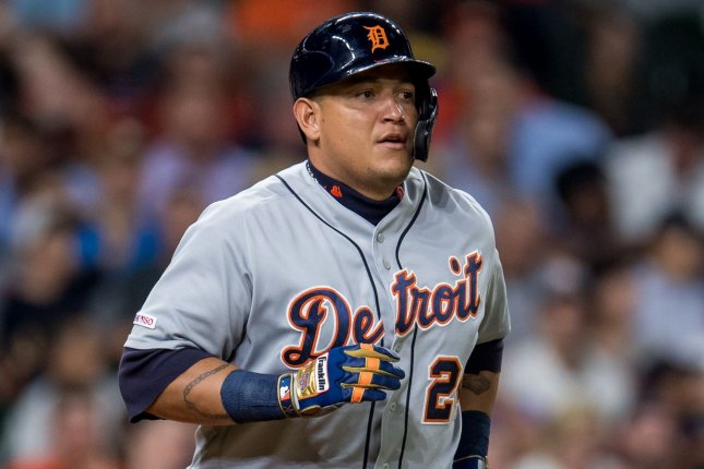 Detroit Tigers designated hitter Miguel Cabrera passed MLB legends Lou Gehrig and Fred McGriff to claim sole possession of 28th place on the MLB career home runs list during a win Thursday over the Cleveland Indians. File Photo by Trask Smith/UPI