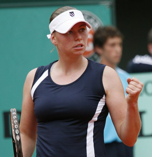 Vera Zvonareva, shown during the 2008 French Open, won a quarterfinal match Friday at a tournament in China. (UPI Photo/ David Silpa)
