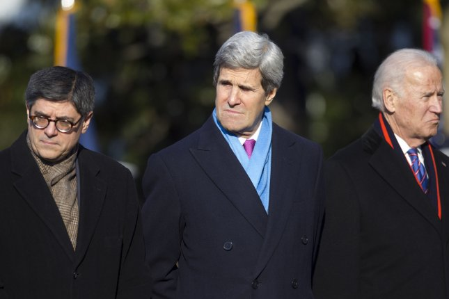 John Kerry, U.S. secretary of state, attending an arrival ceremony for Francois Hollande, France's president, on the South Lawn of the White House in Washington, D.C. on February 11, 2014. (UPI/Andrew Harrer/Pool)