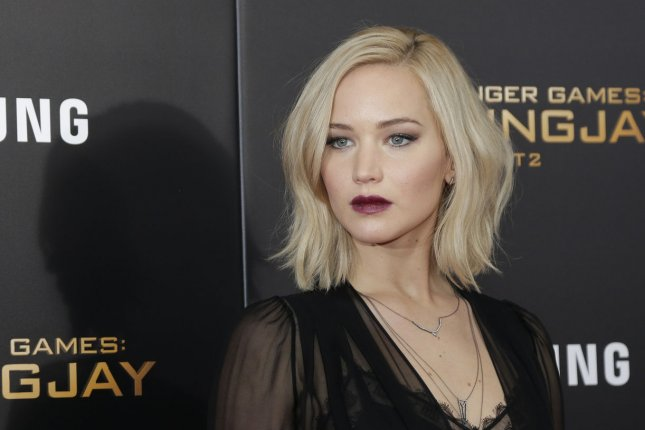 Jennifer Lawrence at the New York premiere of The Hunger Games: Mockingjay - Part 2 on Nov. 18. The actress confessed to once having a crush on Seth Meyers on Tuesday's episode of Late Night. File Photo by John Angelillo/UPI