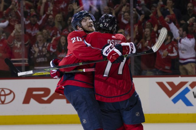 Capitals right wing T.J. Oshie (77) celebrates with center Lars Eller (20). Photo by Alex Edelman/UPI