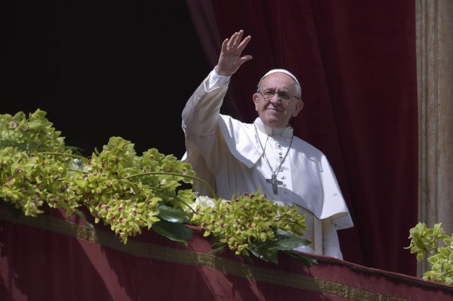 Pope Francis sent two Twitter messages on Wednesday, on World Refugee Day, in support of migrants and refugees. File Photo by Stefano Spaziani/UPI