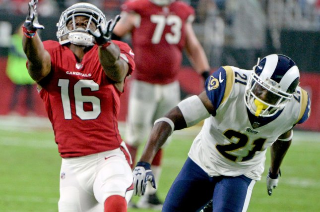Arizona Cardinals wide receiver Chad Williams (L) can't make the reception as former Los Angeles Rams cornerback Kayvon Webster is in coverage in the fourth quarter on December 3, 2017 at University of Phoenix Stadium in Glendale, Arizona. Photo by Art Foxall/UPI