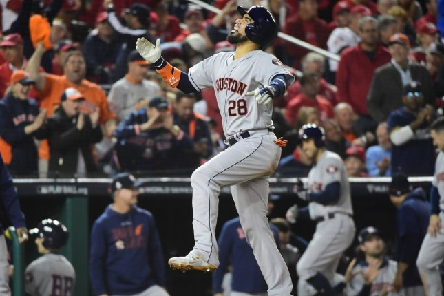 Houston Astros catcher Robinson Chirinos went 2 for 5 with two RBIs and a run scored in a win against the Washington Nationals Saturday in Washington, D.C. Photo by Kevin Dietsch/UPI
