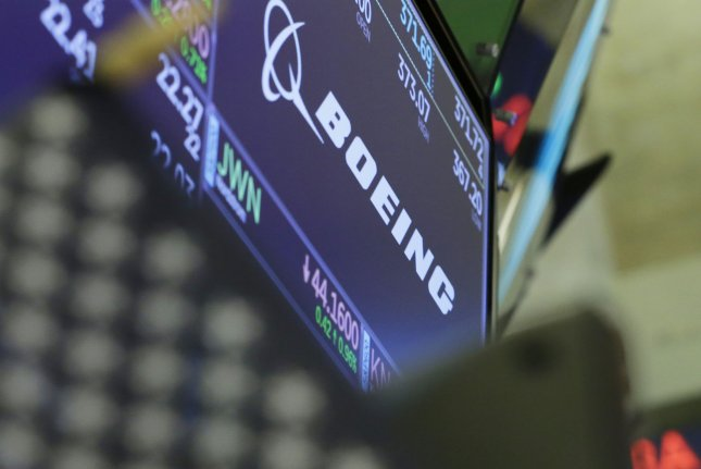 The logo for Boeing is displayed on the floor of the New York Stock Exchange on Wall Street in New York City. File Photo by John Angelillo/UPI