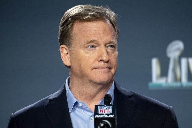 NFL Commissioner Roger Goodell cited potential increased COVID-19 risk from the upcoming holidays in a memo he sent to teams Wednesday, saying the league will move into intensive protocol for the rest of the season. File Photo by Kevin Dietsch/UPI