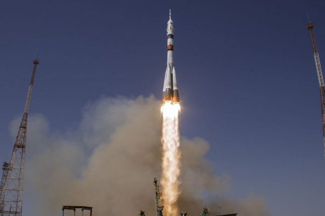 Russia plans to launch an actress and film director to the International Space Station aboard a Soyuz rocket like this Oct. 5 to make a full-length feature film in space. File Photo by Bill Ingalls
