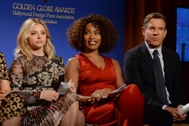 America Ferrera, Chloe Grace Moretz, Angela Bassett and Dennis Quaid (L-R) wait to announce nominations for the 73rd annual Golden Globe Awards at the Beverly Hilton hotel in Beverly Hills, Calif. on Dec. 10, 2015. Photo by Jim Ruymen/UPI
