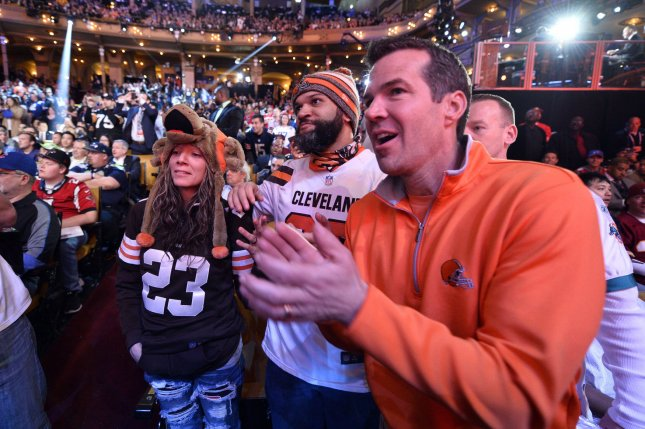 Cleveland Browns fans cheer during the 2016 NFL Draft on April 28, 2016 in Chicago. The Browns gave up a fourth-round pick (No. 142 overall) while acquiring QB Brock Osweiler and a sixth-round pick (188 overall) from Houston in the 2017 draft. Photo by Brian Kersey/UPI