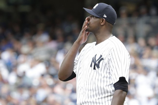 New York Yankees starting pitcher Michael Pineda puts his hand to his face on the mound in the 3rd inning against the Texas Rangers at Yankee Stadium in New York City on June 25, 2017. File photo by John Angelillo/UPI