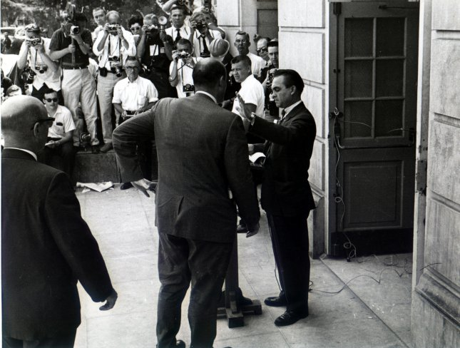 Alabama Gov. George Wallace, pictured in June 1963 when he blocked two black students from enrolling in the all-white University of Alabama, was sworn into office January 14, 1963. UPI File Photo