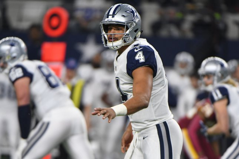 Dallas Cowboys quarterback Dak Prescott calls a play against the Washington Redskins during the first half on November 30, 2017 at AT&T Stadium in Arlington, Texas. Photo by Ian Halperin/UPI
