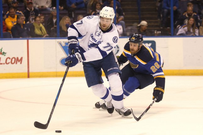 Victor Hedman and the Tampa Bay Lightning face off with the Detroit Red Wings on Tuesday. Photo by Bill Greenblatt/UPI