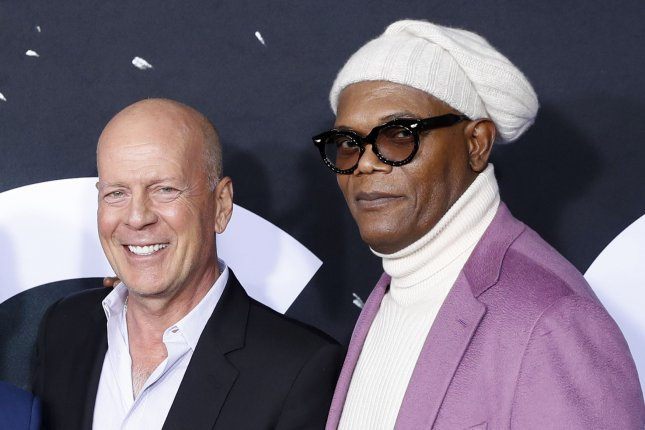 Left to right, Actors Bruce Willis and Samuel L. Jackson arrive at the Glass premiere on January 15 in New York City. The film has been No. 1 at the North American box office for the past three weekends. Photo by John Angelillo/UPI