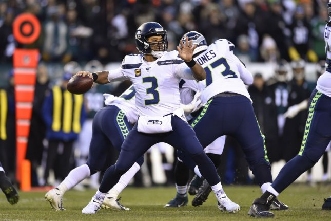 Seattle Seahawks quarterback Russell Wilson throws the ball during the first half against the Philadelphia Eagles on Sunday at Lincoln Financial Field in Philadelphia. Photo by Derik Hamilton/UPI