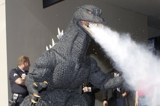 Film character Godzilla blows off steam as it arrives for a ceremony to receive a star on the Hollywood Walk of Fame in Hollywood. (File/UPI Photo/Jim Ruymen)