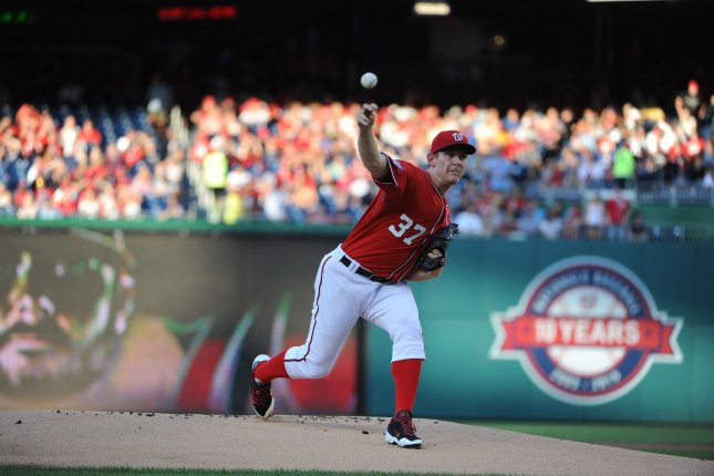 Washington Nationals starting pitcher Stephen Strasburg (37) pitches against the Colorado Rockies in the first inning at Nationals Park in Washington, D.C. on August 8, 2015. Photo by Mark Goldman/UPI