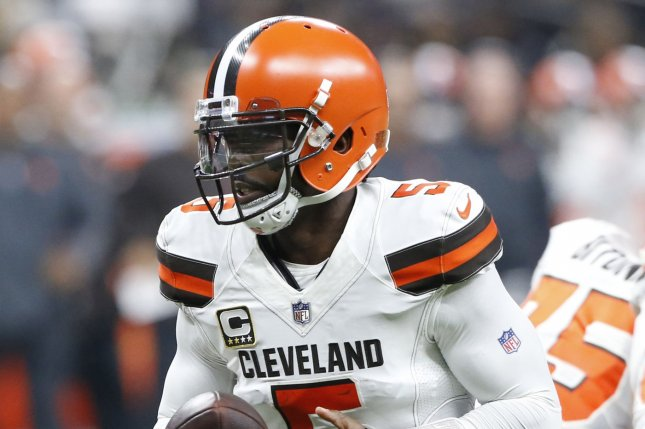 Cleveland Browns quarterback Tyrod Taylor (5) hands the ball off during a game against the New Orleans Saints on September 16, 2018 at the Mercedes-Benz Superdome in New Orleans. Taylor has been dealing with injuries and Drew Stanton (not pictured) has been taking second-team reps in his place. Photo by AJ Sisco/UPI