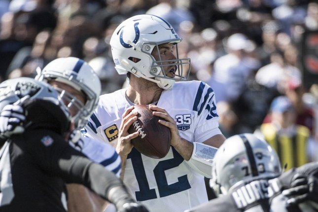 Indianapolis Colts QB Andrew Luck (12) drops back to pass against the Oakland Raiders in the first quarter at the Coliseum Oakland, California on October 28, 2018. The Colts defeated the Raiders 42-28. Photo by Terry Schmitt/UPI