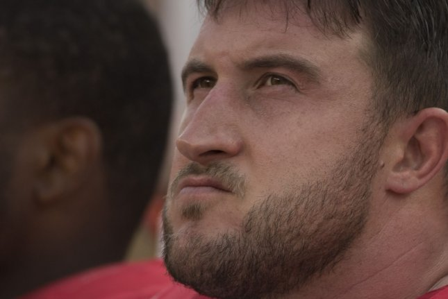 Pro Bowl left tackle Joe Staley is now signed with the San Francisco 49ers through the 2021 season after signing an extension Wednesday. File Photo by Terry Schmitt/UPI