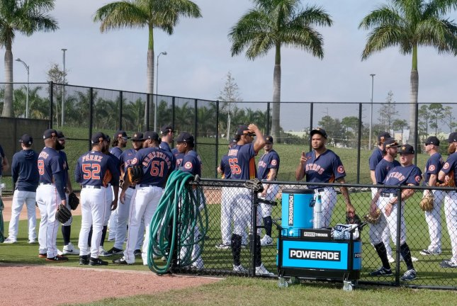 The Houston Astros have pledged to pay minor- league players through August amid the league's suspension due to the coronavirus pandemic. File Photo by Gary I Rothstein/UPI