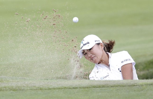 I.K. Kim, shown at a tournament last month, moves to No. 9 Monday in the latest women's world golf rankings. UPI/John Angelillo