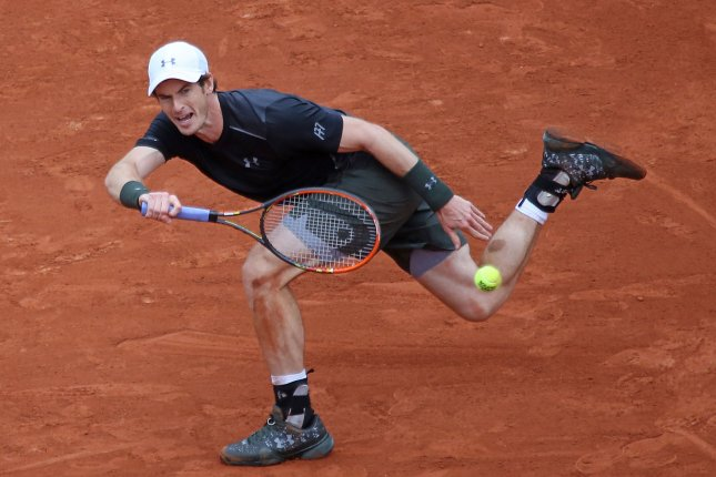 Andy Murray of the United Kingdom hits a shot during his French Open men's first round match against Radek Stepanek of the Czech Republic at Roland Garros in Paris on May 24, 2016. Murray defeated Stepanek 3-6, 3-6, 6-0, 6-3, 7-5 in a match that stretched over two days to advance to the second round. Photo by David Silpa/UPI