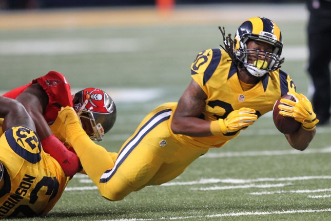 The NFL injury report for Week 11 includes Los Angeles Rams RB Todd Gurley who is listed as questionable to play in Sunday's game. Photo by Bill Greenblatt/UPI