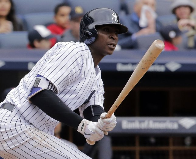 New York Yankees' Didi Gregorius sustained a strained subscapularis muscle in his right (throwing) shoulder while playing for the Netherlands in the WBC. File Photo by Ray Stubblebine/UPI