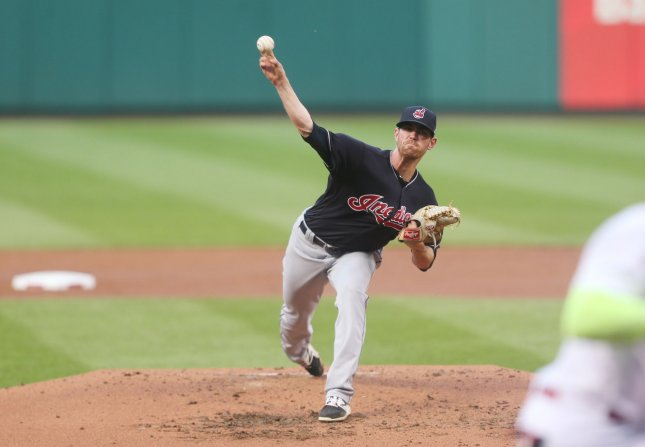 Shane Bieber and the Cleveland Indians take on the Oakland Athletics on Sunday. Photo by Bill Greenblatt/UPI