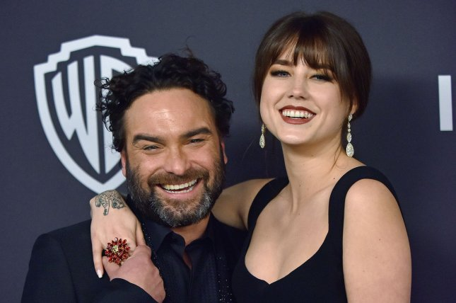 Johnny Galecki (L), pictured with Alaina Meyer, shared a video from the Big Bang Theory set ahead of the series finale. File Photo by Christine Chew/UPI