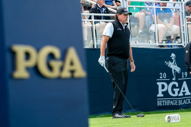 Phil Mickelson was one of several star golfers to observe a moment of silence during the first round of the Charles Schwab Challenge on Thursday morning in Fort Worth, Texas. File Photo by Corey Sipkin/UPI