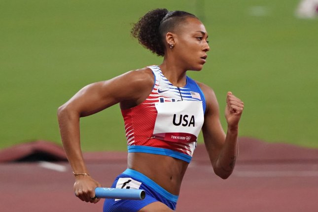 Team USA's Kaylin Whitney competes in the 4x400-meter mixed relay in track at the 2020 Summer Games on Saturday in Tokyo. Photo by Richard Ellis/UPI