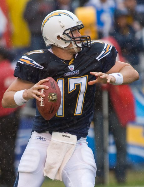 San Diego Charger QB Phillip Rivers gets ready to fire a pass against the Tennessee Titans in the first quarter at Qualcomm Stadium in San Diego, California on January 6, 2008 during the AFC Wildcard Playoff. The Chargers defeated the Titans 17-6. (UPI Photo/Joel Zwink)