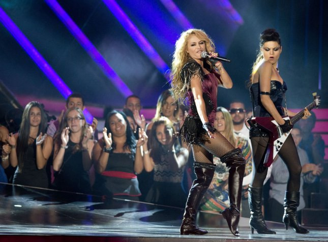 Latin singer Paulina Rubio performs on stage during the 2013 Billboard Latin Music Awards at the BankUnited Center, Coral Gables, Florida on April 25, 2013. UPI/Gary I Rothstein