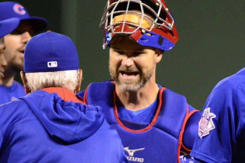Chicago Cubs catcher David Ross (3). Photo by Archie Carpenter/UPI