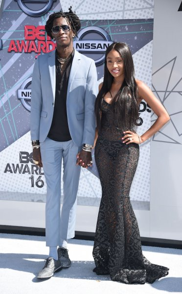 (L-R) Rapper Young Thug and Jerrika Karlae attend the 16th annual BET Awards on June 26, 2016. Young Thug is one of numerous celebrities feature in the 2016 Calvin Klein ad campaign. File Photo by Phil McCarten/UPI