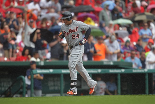 Detroit Tigers' Miguel Cabrera trots to home plate after hitting a home run. File photo by Bill Greenblatt/UPI