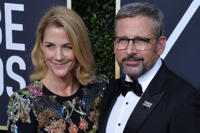 Steve Carell (R) with Nancy Carell. The actor appears in the new trailer for Welcome to Marwen alongside Leslie Mann and Janelle Monae. File Photo by Jim Ruymen/UPI