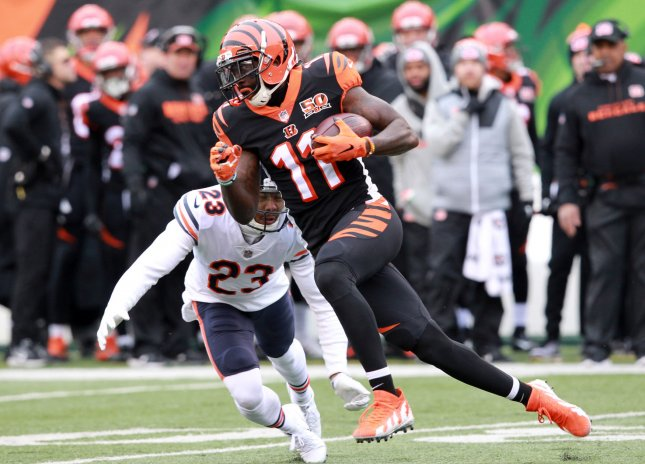 Cincinnati Bengals receiver Brandon LaFell fights to break free from Chicago Bears' Kyler Fuller (23) during their game in December. Photo by John Sommers II /UPI