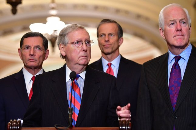 Gallup survey results show that 47 percent of Americans believe Republicans would do a better job of protecting the country from terrorism and international threats. Republican Senate leaders are shown here in this March 2018 file photo. Photo by Kevin Dietsch/UPI